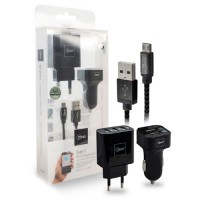 Kit 3 en 1 cargador auto pared Micro USB